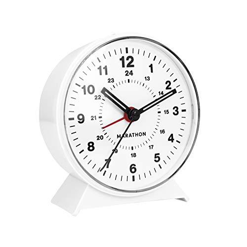 Marathon CL034001WH Mechanical Wind-Up Alarm Clock (White)