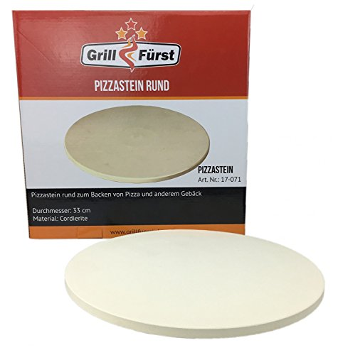 Grillfürst Pizzastein rund aus Cordierit - 33 cm Durchmesser - für Grill und Backofen
