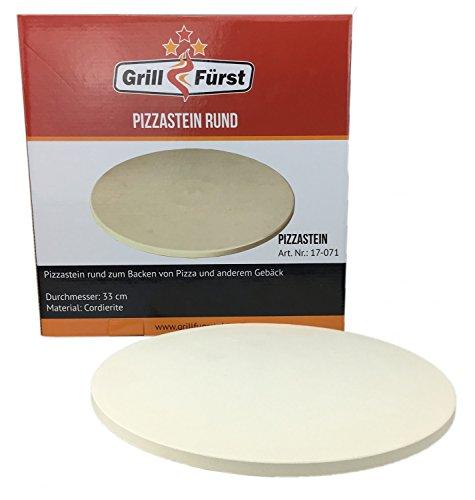 Grillfuerst universal Pizzastein/Brotbackstein - 33 cm Durchmesser - für Backofen und Grill
