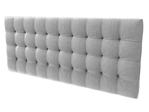 LA WEB DEL COLCHON - Cabecero tapizado Manhattan para Cama de 80 (90 x 70 cms) Gris Claro Textil Suave | Cama Juvenil | Cama Matrimonio | Cabezal Cama |