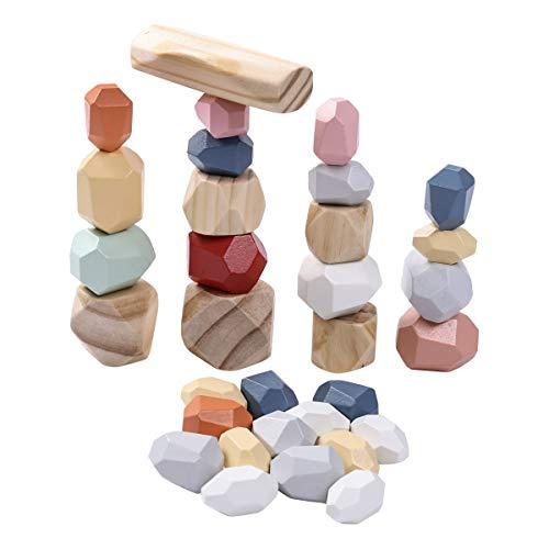 Holzbausteine Set, Handgefertigte Holzstein-Ausgleichsblöcke, Naturholzspielzeug, farbige Holzsteine Stapelspiel Rock Block Spiel Lernspielzeug für Kinder (Bunt H, 32pcs)