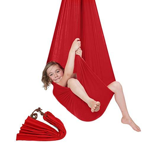 Moracle Hamaca para Niños Swing de Terapia hasta 100 KG Columpio Interior para Niños de Más de 3 años Hamaca de Yoga Aérea Ajustable Columpios Infantiles (Rojo)