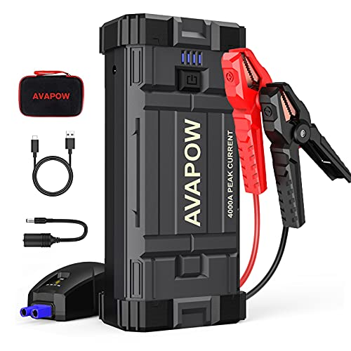 AVAPOW Car Jump Starter, 4000A Peak 27800mAh Battery Jump Starter (for All Gas or Up to 10L Diesel), Battery Booster Power Pack, 12V Auto Jump Box with LED Light, USB Quick Charge 3.0