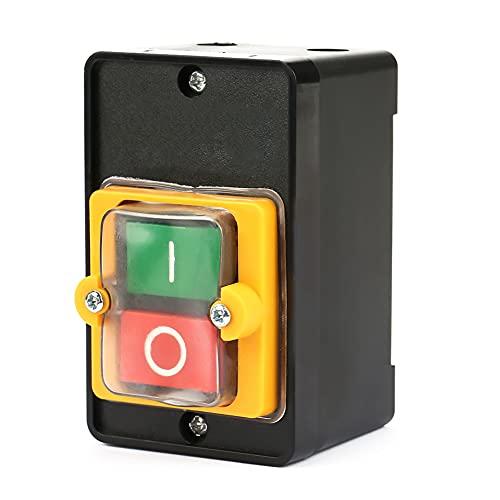 Interruptor de botón, AC220V / 380V 10A Interruptor de botón de encendido/apagado a prueba de agua Botón de presión, KA0-10KH Interruptor de encendido/apagado monofásico de la máquina perforadora