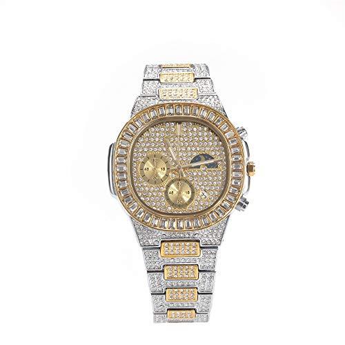 Fantex Reloj con calendario de negocios de 41 mm con fase lunar, con diamantes de imitación austriacos y chapado en oro