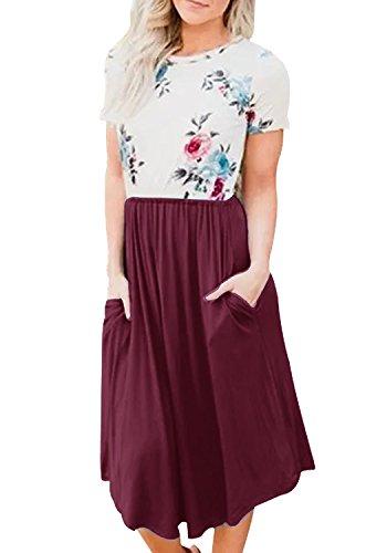 Yidarton Damen Sommer Kleid Kurzarm Blumendruck Patchwork Casual Plissee Midikleid mit Taschen, Weinrot, L