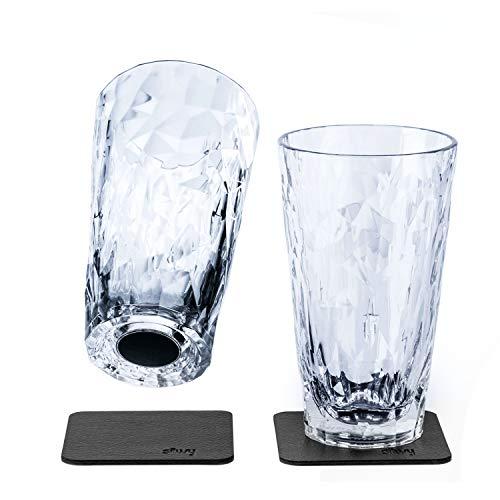 Silwy - Vasos magnéticos de plástico de alta tecnología y almohadillas metálicas de gel nanogel, vasos de camping, accesorios para barcos y yates (0,3 l)