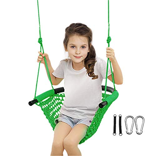 Beletops KidsSwing, Swing Seat for Kids Children Swing Set w/ Adjustable Rope Child SwingHand-Knitting Rope Swing Chair for Indoor, Outdoor, Tree, Backyard, Room, Porch, Playground (Green)