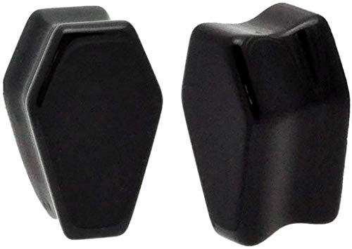 Mystic Metals Body Jewelry Pair of Black Onyx Stone Coffin Shaped Double Flare Plugs (STN-638) (00g (10mm))