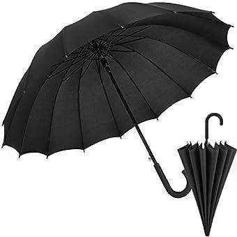 長傘 NIJIAKIN 16本骨 紳士傘 メンズ レディース ワンタッチ 丈夫 撥水 耐風 210T高強度グラスファイバー 梅雨対策