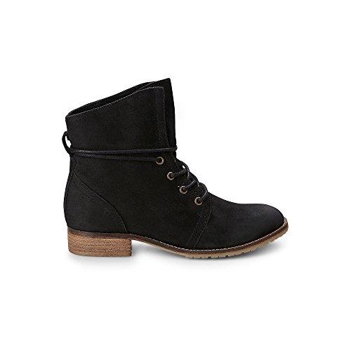 Cox Damen Schnür-Boots aus Leder, Freizeit-Stiefel in Schwarz mit kuscheligem Warm-Futter Schwarz Leder 37