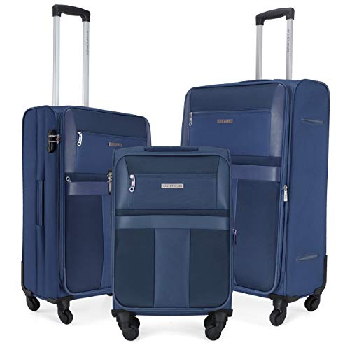 Nasher Miles Toledo 20, 24, 28 Inch ,Set of 3, Expander, Soft-Sided, Polyester Luggage, Navy Blue 55, 65 and 75 cm Trolley Bag