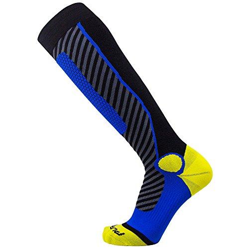 Pure Athlete Ski Socks for Men and Women – Striped Warm Merino Wool Skiing, Snowboard Winter Sock – Midweight, Shin Padding (S, Black/Yellow/Blue)