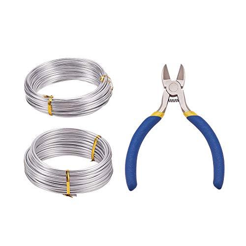 PandaHall Elite 2 rollos de 2,5 mm/3 mm aproximadamente 10 m, alambre de aluminio plateado y alicates de corte lateral de hierro para manualidades