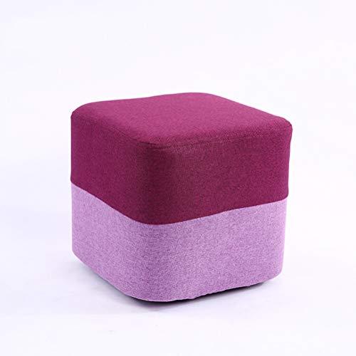 Schoenenkruk ZI LING SHOP- Vierkante Kruk Effen Houten Schoenen Bench Kruk Stof Regenboog Koffie Tafel Voetbank Make-up Sofa Kruk