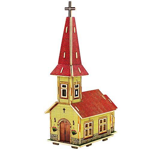 RecontraMago Puzzle 3D - Colección Casas y Edificios del Mundo - Rompecabezas de Madera- Juguetes para niños y Adultos … (Japon Tienda) (Iglesia Noruega)