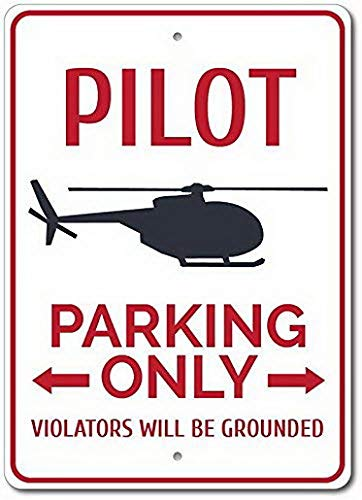 Tengss Pilot Parking Metal Signs Vintage Tin Sign Poster Plaque Home Deocr Funny Gifts 8 X 12, Pilot Gift, Pilot Decor, Helicopter Gift