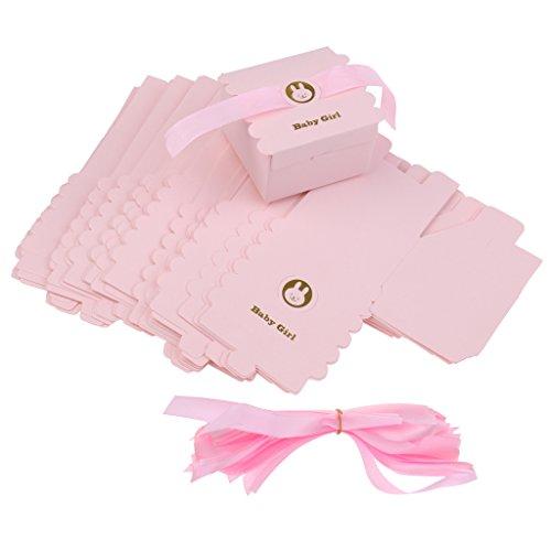 MagiDeal 50pcs Boîte de Bonbon en Papier Motif Ours avec Ruban Accessoire Cadeaux de Baby Shower Anniversaire Bébé - Rose