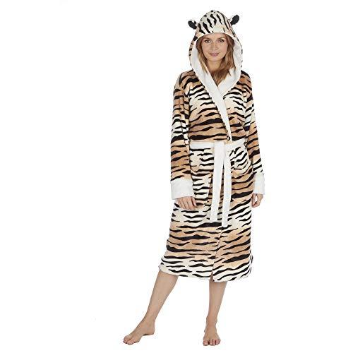 Albornoz con capucha para mujer con estampado animal y