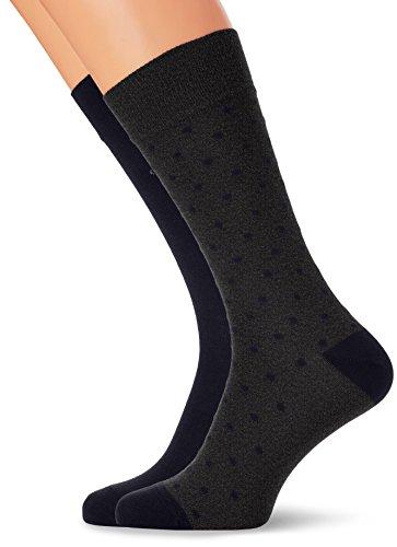 GANT Herren 2-pack Dot und Solid Socken, Grau (Charcoal Melange), One size (2er Pack)