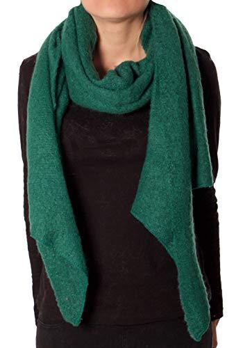 Eitex Damen offener kuscheliger Schal XXL Schal sanftes Material Viskose und Wolle Gemisch warm Stola (dunkelgrün)