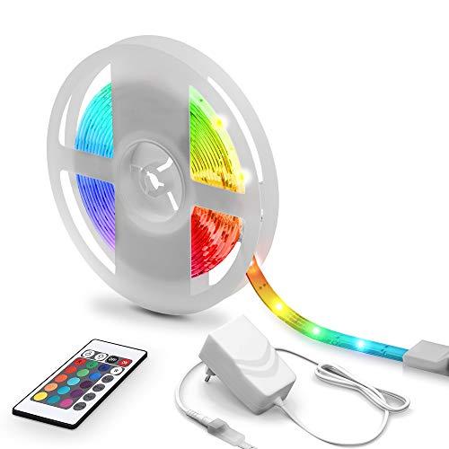 5m Tiras LED con cubierta de silicona, 16RGB Flexibles Multicolor, LED Kit Completo con mando a distancia, Luz Ambiental