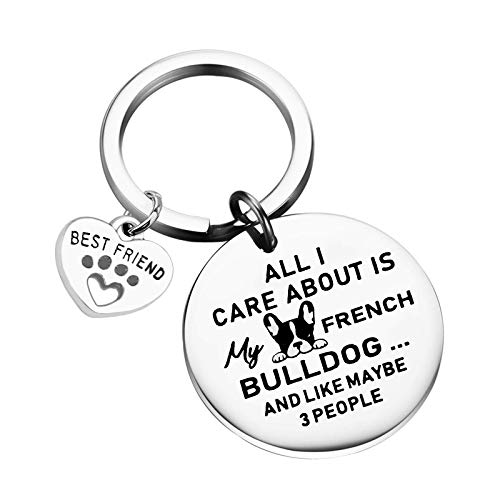French Bulldog Keychain Bulldog Mom Bulldog Dad Gifts Bulldog Lover Gifts Gift for Dog Lover Dog Owner (All care my french bulldog)