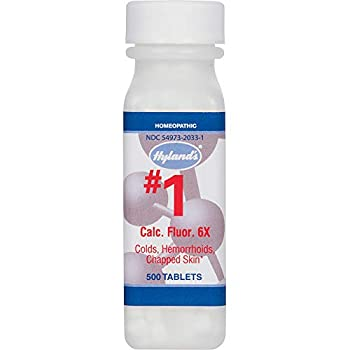 Hemorrhoid Treatment Homeopathic Relief of Hemorroids Colds and Chapped Lips Hyland s #1 Cell Salt Calcarea Fluorica 6X 500 Count