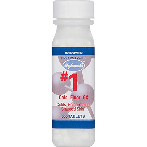 Hemorrhoid Treatment, Homeopathic Relief of Hemorroids, Colds, and Chapped Lips, Hyland's #1 Cell Salt Calcarea Fluorica 6X, 500 Count