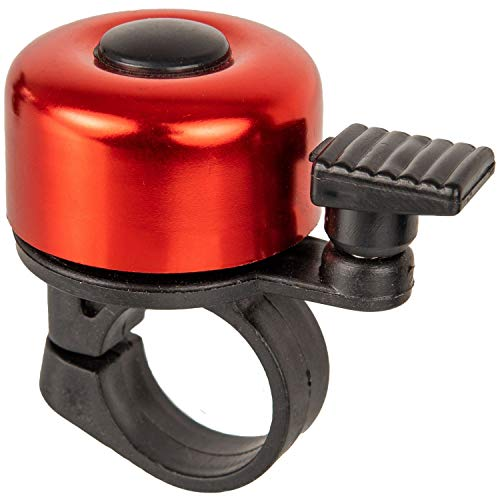 Fahrradklingel in rot, laut und klar, für Ø 21 mm - Ø 25 mm Lenkstangen, mit Schraube zum Befestigen, Fahrradglocke, universal für alle Fahrräder, Fahrrad Klingel, Fahrrad Hupe mini, Fahrradzubehör