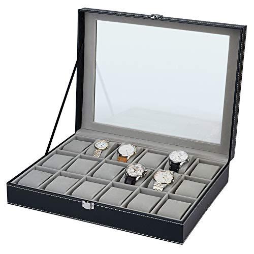 SELVA Uhrensammelbox – Für 18 Uhren – Hervorragende Verarbeitung – Leder – Maße: 330 x 290 x 88 mm