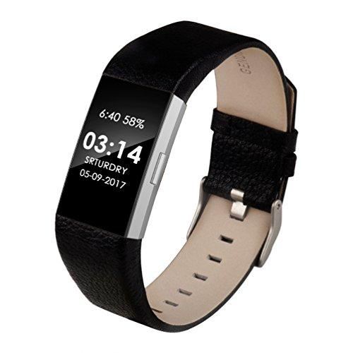 Wearlizer für Fitbit Charge 2 Armband, Leder Ersatzband für Charge 2 Armband