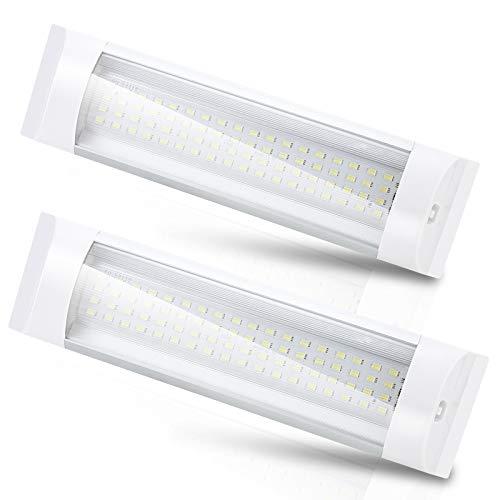 wolketon 2X 72 LED Innenraumbeleuchtung 12V DC 8W LED Innenbeleuchtung Auto Lampe Leiste Einbauleuchte Unterbauleuchte für Wohnwagen Anhänger Wohnmobil
