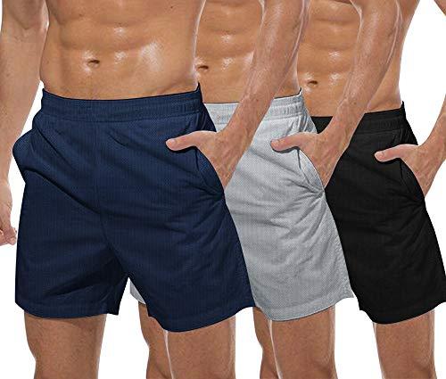 COOFANDY Men's 3 Pack Gym Workout Shorts Mesh Weightlifting Squatting Pants Training Bodybuilding Jogger with Pocket (Black/Grey/Navy Blue, Medium)