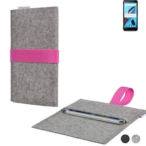 flat.design Handy Tasche Aveiro für Energizer Hardcase H570S handgefertig in Deutschland Sleeve Hülle Etui Filz hellgrau rosa