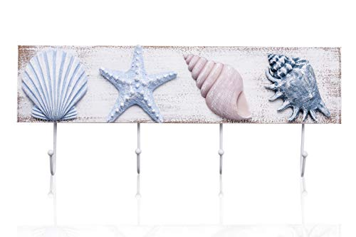 TideAndTales Beach Bathroom Decor 3D Seashell Wall Hooks Towel Rack for Coastal Bathroom, Bedroom or Kitchen | Shells and Starfish Beach Decorations for Home | Ocean Theme Beach House Decor