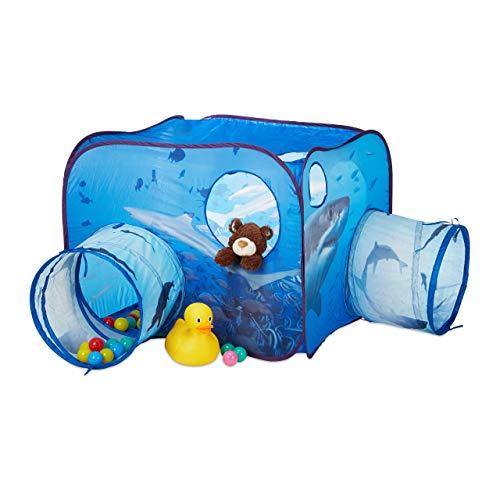Relaxdays 10024758, blau Spielzelt Tunnel für Kinder, Hai-Motiv, Pop Up Kinderzelt m. 2X Krabbeltunnel, Outdoor, HBT 80x140x140cm, Bälle