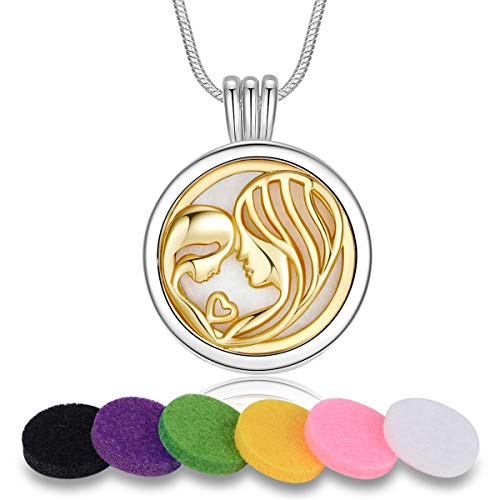 INFUSEU Dainty Essential Oil Diffuser Necklaces for Mother Daughter, Aromatherapy Small Coin Jewelry Gifts for Women, 12 Refill Felt Pads, 24 Inch Chain