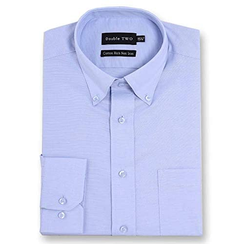 Double Two Men's White Non-Iron Button Down Oxford Shirt