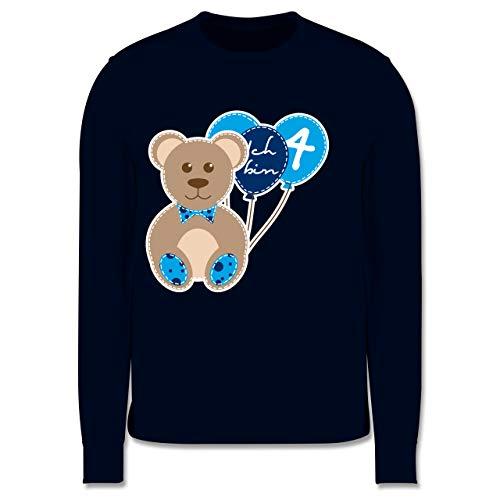 Shirtracer Geburtstag Kind - Ich Bin 4 Junge Bär Luftballons - 140 (9/11 Jahre) - Navy Blau - Spruch - JH030K - Kinder Pullover