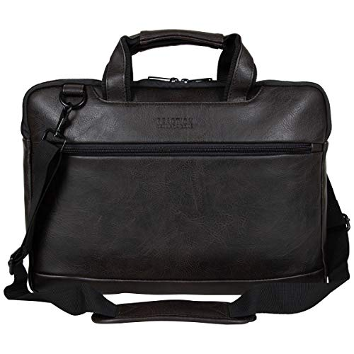 Kenneth Cole Reaction ProTec Pebbled Vegan Leather Slim 16' Laptop & Tablet Top Zip Business Briefcase Travel Bag, Brown
