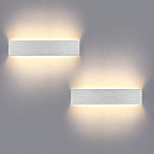Yafido 2er Wandleuchte Innen LED 40CM Wandlampe Up Down Wandbeleuchtung 14W Warmweiß 3000K Wandlicht Silber gebürstet für Schlafzimmer Wohnzimmer Bad Flur Treppen 230V