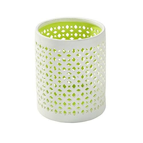 Talking Tables Flurorescent Floral Pot en céramique, Blanc/Vert, 11.5 x 11.5 x 14 cm