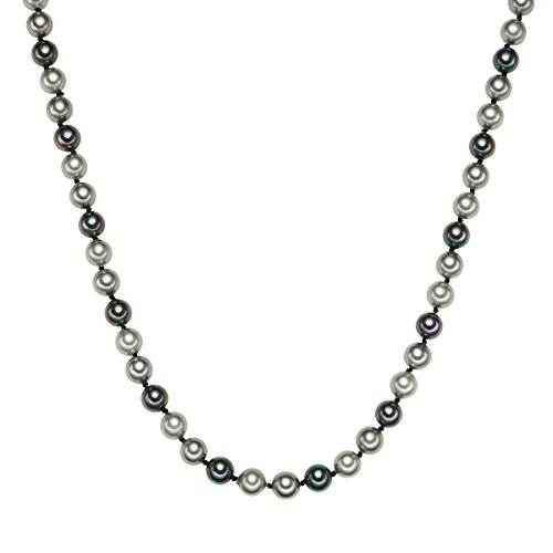Rafaela Donata Damen-Perlenkette Muschelkernperle hellgrau grau anthrazit Sterling Silber - Perlenkette Multicolor Halskette Perlen Kette Silber