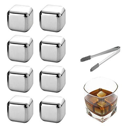 OurLeeme Cubetti di ghiaccio per whisky, pietre di raffreddamento riutilizzabili Whiskey di acciaio inossidabile pietre per raffreddare con pinze per ghiaccio Miglior regalo per gli uomini (8PCS)
