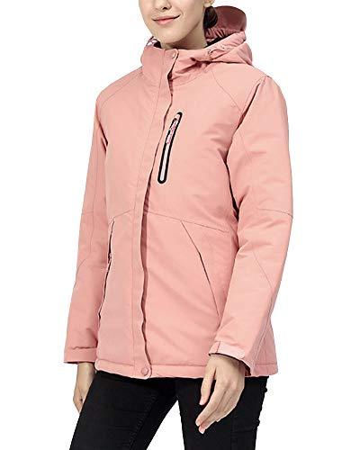 YOUCAI Mujer/Hombre Cortavientos Impermeable al Aire Libre eléctrica Grueso USB Calefacción Invierno Chaqueta Trekking Softshell Senderismo Escalada Ciclismo Chaquetas de esquí Mujer Pink XXL