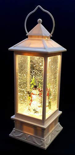 Große XL LED Schnee Laterne Schneekugel Weihnachten Glitzer Weihnachtsdekoration Lampe Licht Snowman Xmas Schneemann Stimmungslicht