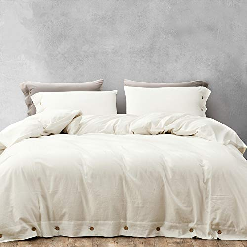 MELINGO White Duvet Cover Queen Size, Brushed Cotton Duvet Cover Set 3 Pieces - 1 x Duvet Cover + 2 x Pillow Shams, Soft Breathable Durable and Comfy