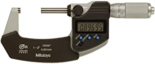 Mitutoyo 293-345 Digital Outside Micrometer, Inch/Metric, Ratchet Thimble, 1-2
