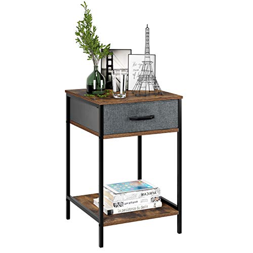HOMFA Nightstand, 2-Tier End Table Side Table with Drawer, Shelf Dresser Storage Organizer and Open Shelf, Accent Table Modern Furniture in Bedroom Home, Vintage
